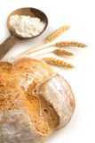 Bread, flour and  and bunch of ears Royalty Free Stock Photography
