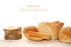 Bread and flour Stock Image
