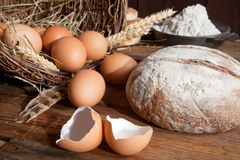 Bread flour and eggs Royalty Free Stock Photography