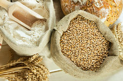 Bread, flour and grain Royalty Free Stock Image