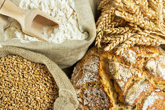 Bread, flour and grain Royalty Free Stock Images