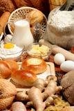 Bread, flour, milk, butter... stock images