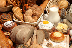 Bread, flour, milk, eggs Stock Image