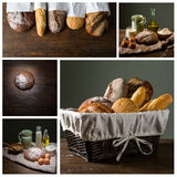 Bread and flour with milk and eggs Stock Photography