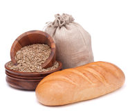Bread, flour sack and grain isolated on white background cutout Royalty Free Stock Images