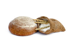 Bread and flour in a sack Royalty Free Stock Image