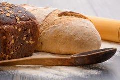 Bread flour on the table Royalty Free Stock Photos