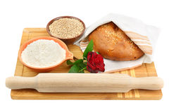 Bread, flour and wheat grain Royalty Free Stock Photos