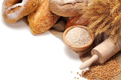 Bread,flour and wheat grains Royalty Free Stock Image