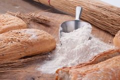 Bread and flour Royalty Free Stock Photography