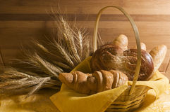 Bread food in a basket Stock Images