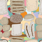 Bread food drawing pastel seamless pattern Stock Images
