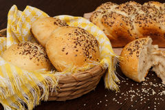 Bread. A food made from flour, water, and usually yeast, mixed together and baked stock photo
