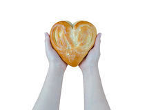 Bread in the form of heart on oak in female hands isolated on white background Royalty Free Stock Image