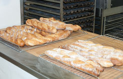 Bread-French baguettes in a bakery. Workshop Royalty Free Stock Photography