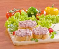 Bread and French pate Stock Photos