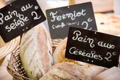 Bread with french vintage labels Stock Photography