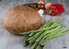 Bread and Fresh Asparagus Royalty Free Stock Images