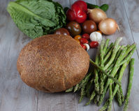 Bread and Fresh Asparagus. With vegetables Stock Photo