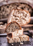 Bread. Fresh bread. Homemade traditional bread. Sliced bread crumbs knife and cumin Royalty Free Stock Images