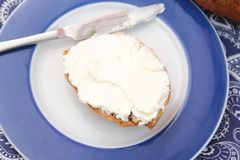 Bread with fresh cheese Royalty Free Stock Photo