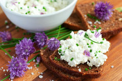 Bread with fresh chives Stock Images