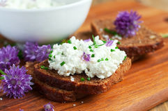 Bread with fresh chives Stock Photography
