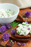 Bread with fresh chives Stock Photos