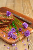Bread with fresh chives Royalty Free Stock Image