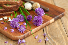 Bread with fresh chives Royalty Free Stock Photography