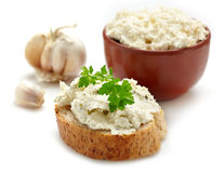 Bread with fresh cream cheese Stock Photo