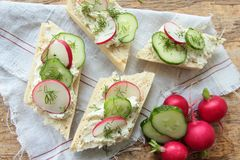 Bread with fresh radish and cucumber. Sandwiches with soft cheese, radish and green cucumber Royalty Free Stock Image