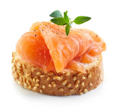 Bread with fresh salmon fillet Royalty Free Stock Photo