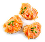 Bread with fresh salmon fillet Royalty Free Stock Photography