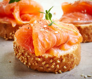 Bread with fresh salmon fillet Stock Photo