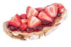 Bread with fresh Strawberry Jam Stock Image