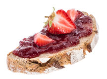 Bread with fresh Strawberry Jam Royalty Free Stock Photography