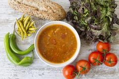 Bread , fresh vegetables and beans Royalty Free Stock Photography