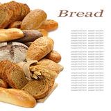 The bread. Fresh bread on the white background stock photo
