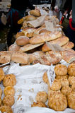 Bread. Freshly baked loaves of bread on a market stall royalty free stock images