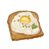 Bread and fried egg Stock Photo