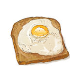 Bread and fried egg Stock Photography