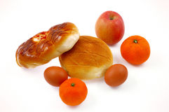 Bread and fruit. Rich and delicious breakfast food Stock Photo