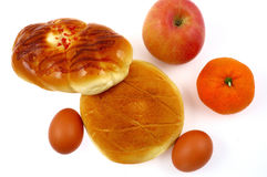 Bread and fruit. Rich and delicious breakfast food Stock Image