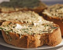 Bread with garlic butter Stock Image