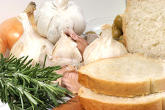 Bread with garlic, onion and rosemary Stock Photos