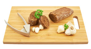 Bread, garlic and parsley composition Royalty Free Stock Photo