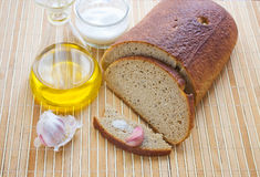 Bread with garlic and salt. Stock Image