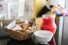 Bread garlic and watermalon juice smoothie. stock photo