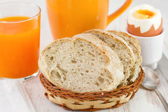 Bread with glass of juice, cup Royalty Free Stock Photo